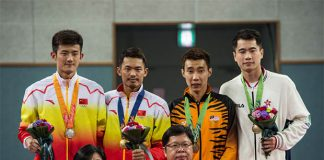 Chen Long, Lin Dan, Lee Chong Wei, Wei Nan (from left)