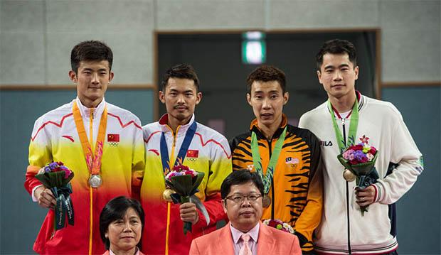Chen Long, Lin Dan, Lee Chong Wei, Wei Nan (from left)