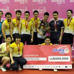 Malaysia national squad team beat Thailand 3-1 at the Axiata Cup Championship 2013 final in Cheras Badminton Stadium