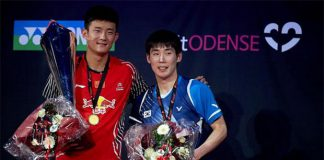 Chen Long (left) defended his BWF Denmark Open title by defeating Son Wan-ho in straight games