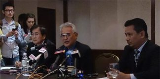 BAM president Tengku Mahaleel (middle) talks to media regarding the doping issue