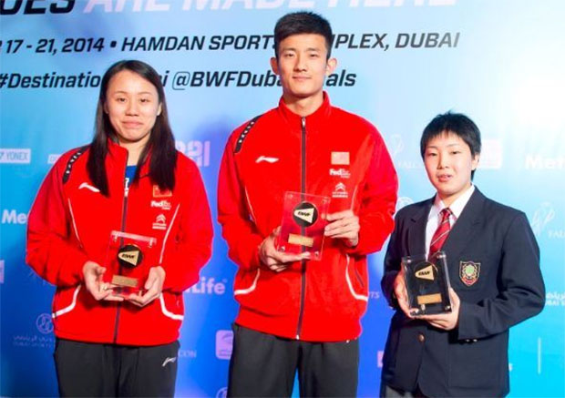 Zhao Yunlei, Chen Long, Akane Yamaguchi (from left)