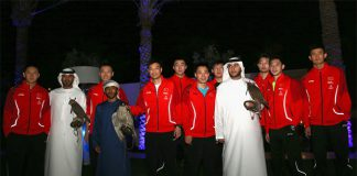 China men's badminton team enjoy the Arabic style at Dubai