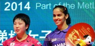 Indian shuttler Saina Nehwal winning her maiden China Open Super Series Premier women's singles title against Japan's Akane Yamaguchi (left) in Fuzhou, China on Nov 16, 2014.