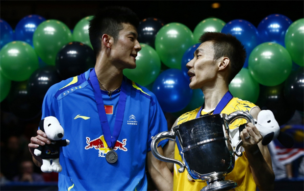 Malaysia's Lee Chong Wei (right) and China's Chen Long during the men's singles award ceremony at the 2014 All England Open Championships in Birmingham, England.