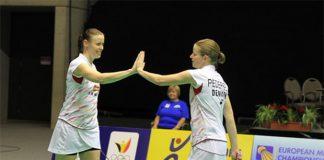 Christinna Pedersen (right) & Kamilla Rytter Juhl secure Denmark a spot in the European mixed team championships final. (photo: Europe Badminton)