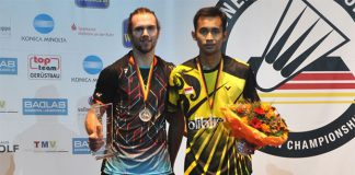 Jan Jorgensen and Dionysius Hayom Rumbaka (Photo: German Open Badminton)