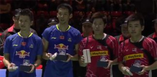 Goh V Shem (pink shirt left)/Tan Wee Kiong put up a good fight before beaten by Cai Yun (blue shirt left)/Lu Kai at Swiss Open final
