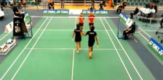 Chan Peng Soon/Goh Liu Ying (orange shirt) shake hands with their opponents following the match.