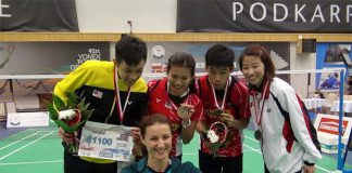 Daren Liew, Goh Liu Ying, and Chan Peng Soon after winning the Polish Open(photo:Lim Joe Heang)