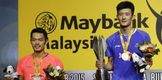 Chen Long and Lin Dan (left) play a great men's singles final match at Malaysia Open on Sunday