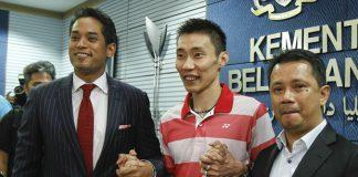 Khairy Jamaluddin, Lee Chong Wei and Datuk Seri Norza (from left). (photo: Reuters)