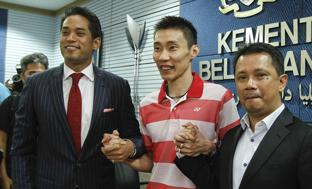 Khairy Jamaluddin, Lee Chong Wei and Datuk Seri Norza (from left). (photo: Reuters)