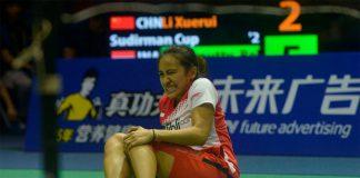 Bellaetrix Manuputty injured her left knee at last week's Sudirman Cup