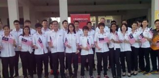 Malaysia shuttlers depart for Singapore SEA Games. (photo: BAM)