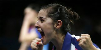 Carolina Marin of Spain cannot believe she has just beaten China's Li Xuerui to become world champion, August 31, 2014.
