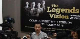 "Taufik Hidayat speaks to media on Tuesday about ""The Legends' Vision""."