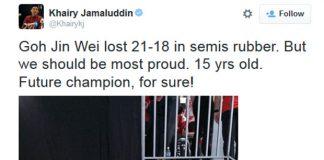 Khairy Jamaluddin takes picture with Goh Jin Wei following her SEA Games semi-final loss. (photo: Khairy Jamaluddin's Twitter)