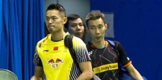Lin Dan and Lee Chong Wei walking into the court to get ready for their match on Thursday. (photo: AFP)