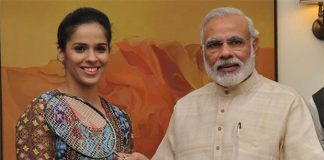 Thanks to Saina Nehwal, and happy birthday to Prime Minister Narendra Modi! (photo: Narendra Modi - Twitter)