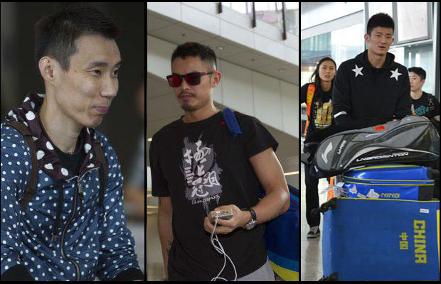 Lee Chong Wei, Lin Dan and Chen Long arrive at the Hong Kong airport. (photo: Xinhua)