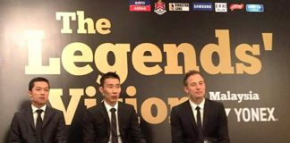 Taufik Hidayat, Lee Chong Wei and Peter Gade at the Legends' Vision in Kuala Lumpur. (photo: Yonex)