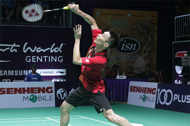 Lee Chong Wei meets Iskandar Zulkarnain Zainuddin for the first time in Purple League. (photo: Purple League)