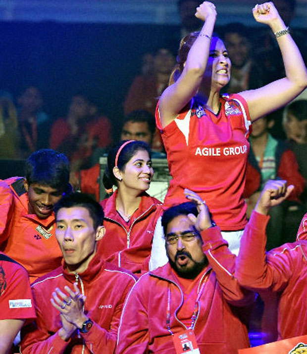 Lee Chong Wei and his Hyderabad Hunters teammates.