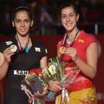 Saina Nehwal (left) and Carolina Marin make a great rivalry in women's singles.