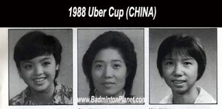 Lao Yujing (middle left) and notable female badminton players such as Li Lingwei, and Han Aiping were part of the Chinese squad that lifted the 1988 Uber Cup.