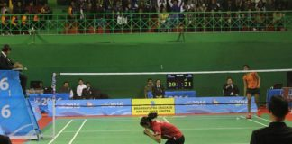 Ruthvika Shivani falls to his knees in celebration after her women's singles final victory over P.V Sindhu.(photo: PTI)