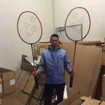 """""""Super Dan"""" and his """"Super Big"""" badminton rackets. (photo: Yonex)"""
