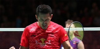 Lin Dan roars to victory over Jan O Jorgensen in the All England quarter-finals. (photo: AFP)