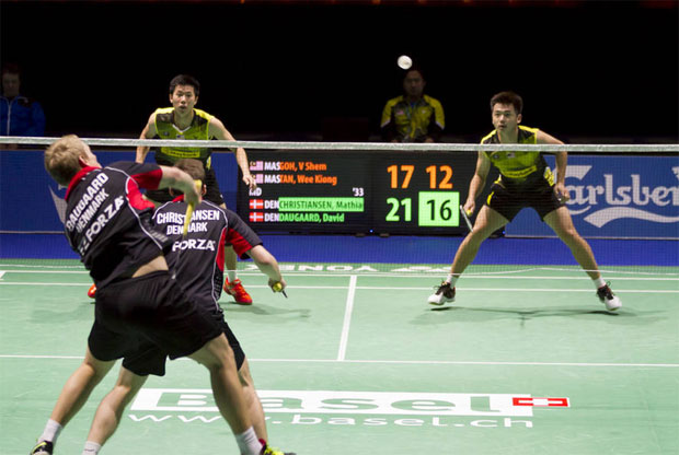 Goh V Shem/Tan Wee Kiong were defeated by Mathias Christiansen/David Daugaard in the second round of 2016 Swiss Open. (photo: Uwe Zinke)