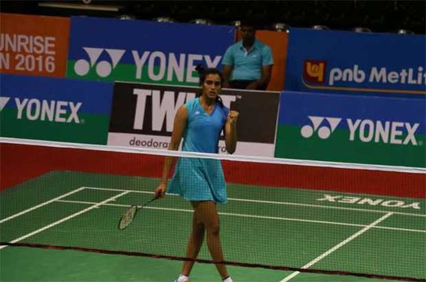 P.V Sindhu pumps her fist during her India Open second round against Busanan Ongbumrungphan. (photo: BAI)