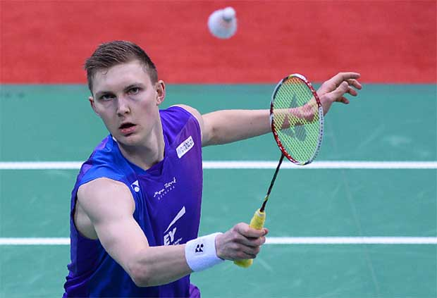 Denmark's Viktor Axelsen plays a shot during his men's singles semi-final match against South Korea's Son Wan Ho. (photo: GettyImages)