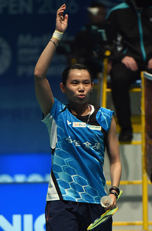 Tai Tzu Ying celebrates after defeated Li Xuerui in the second round of Malaysia Open. (photo: GettyImages)