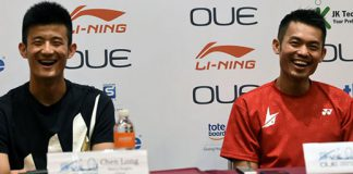 Chen Long and Lin Dan at the 2016 Singapore Open press conference. (photo: AFP)