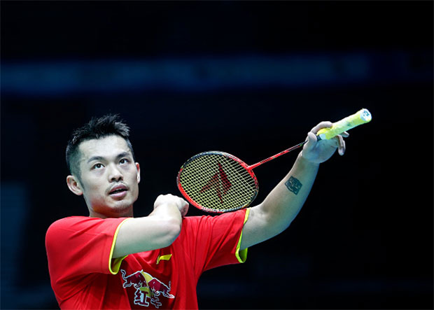 China's Lin Dan reacts during him men's singles match against Ihsan Maulana Mustofa of Indonesia's at the 2016 Asia badminton championship in Wuhan. (photo: GettyImages)