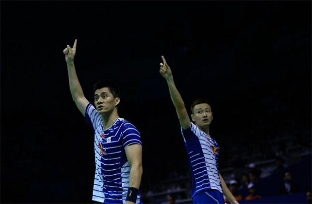 Fu Haifeng/Zhang Nan form a formidable first men's doubles pair for China. (photo: AFP)