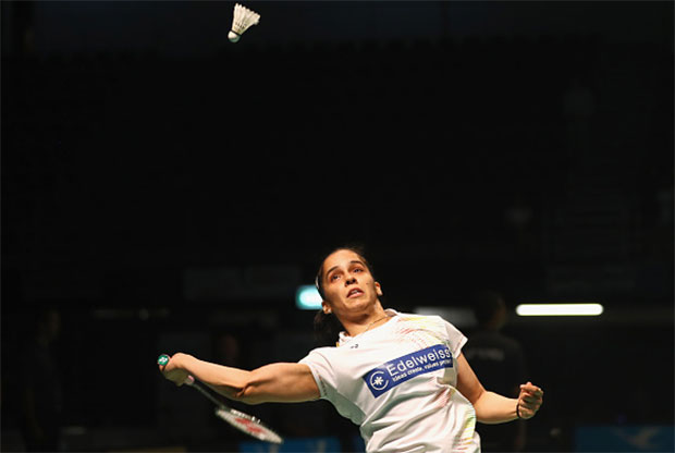Saina Nehwal returns a shot at the 2016 Australian Badminton Open. (photo: GettyImages)