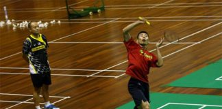 Lee Chong Wei and other Malaysian badminton player receive training at Juara Stadium, Bukit Kiara. (photo: BAM)