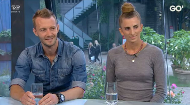 Carsten Mogensen and his girlfriend Mie Skov during the interview. (photo: TV2, Go' aften Danmark)