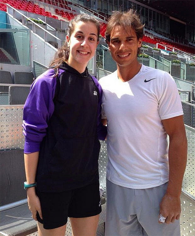 World No. 1 Carolina Marin and the greatest clay-court player in tennis history, Rafael Nadal. (photo: GettyImages)