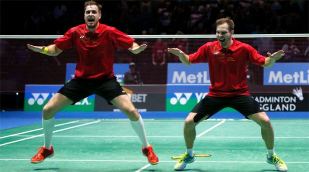Russia's Vladimir Ivanov and Ivan Sozonov perform the haka after winning the men's doubles final at the All England Open.