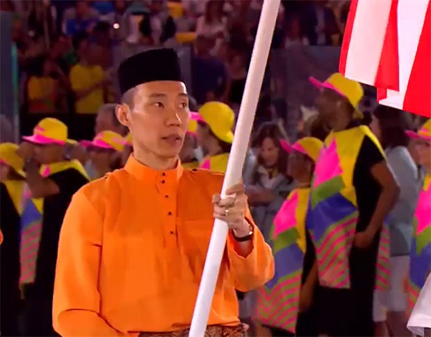Lee Chong Wei leads out Team Malaysia at the opening of Rio 2016.