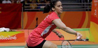Saina Nehwal's right knee was heavily taped on Sunday. (photo: AP)