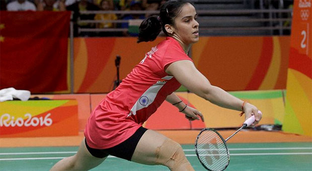 Saina Nehwal's right knee was heavily taped on Sunday. (photo: AP)