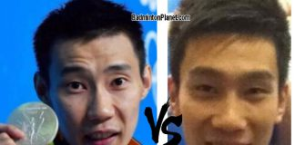 Lee Chong Wei vs player from Beijing Shougang basketball team.