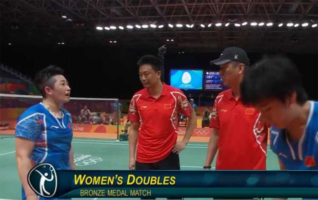 Yu Yang argues with her coaches at Rio Olympics.